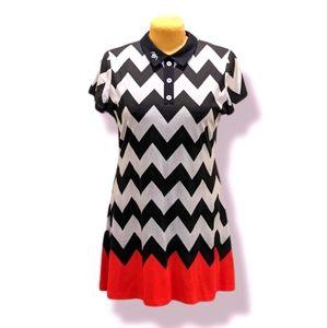 Killstar XXL Polo Collar Goth Cotton Zig Zag Black White and Red Mini Dress